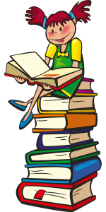 clip art of a girl reading a book while sitting on a stack of books