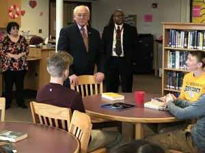 Congressman Paul Tonko speaks with BKW students after donating books
