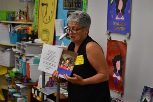"Author Kim Kord reads ""Icky Picky Suzie"" to an elementary class"