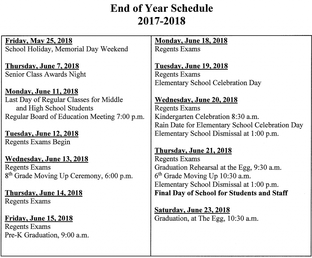 a schedule of events for the end of the 2017-18 school year