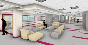 Architect rendering of secondary school lobby