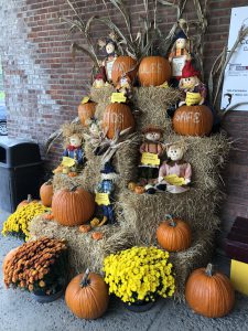 fall display with pumpkins outside the school