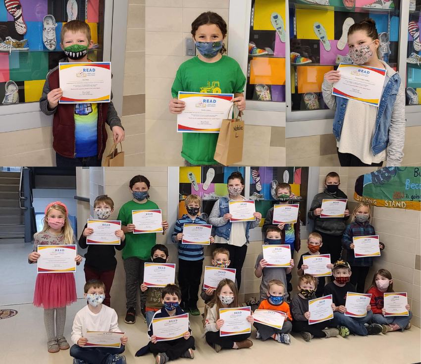 Students with Read for Ronald McDonald House certificates